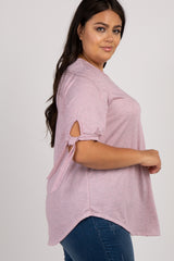 Mauve Striped Sleeve Tie Plus Top