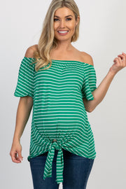 Green Striped Off Shoulder Tie Front Maternity Top