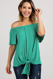 Green Striped Off Shoulder Tie Front Top