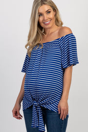 Royal Blue Striped Off Shoulder Tie Front Maternity Top