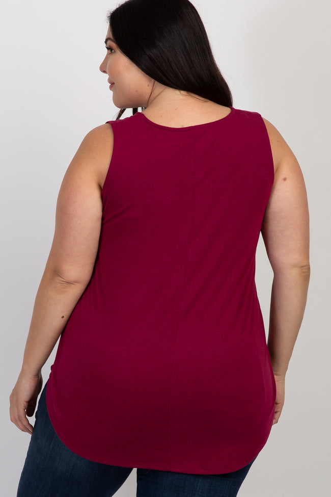 Burgundy Sleeveless Plus Tank Top
