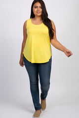 Yellow Sleeveless Plus Tank Top