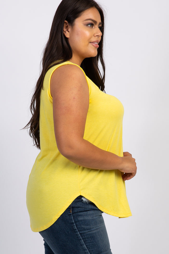 Yellow Sleeveless Maternity Plus Tank Top
