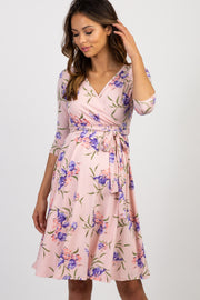 PinkBlush Light Pink Floral Sash Tie Maternity Wrap Dress