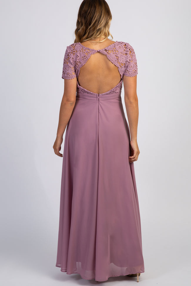 Mauve Crochet Top Open Back Maternity Evening Gown
