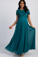 Teal Green Crochet Top Open Back Maternity Evening Gown
