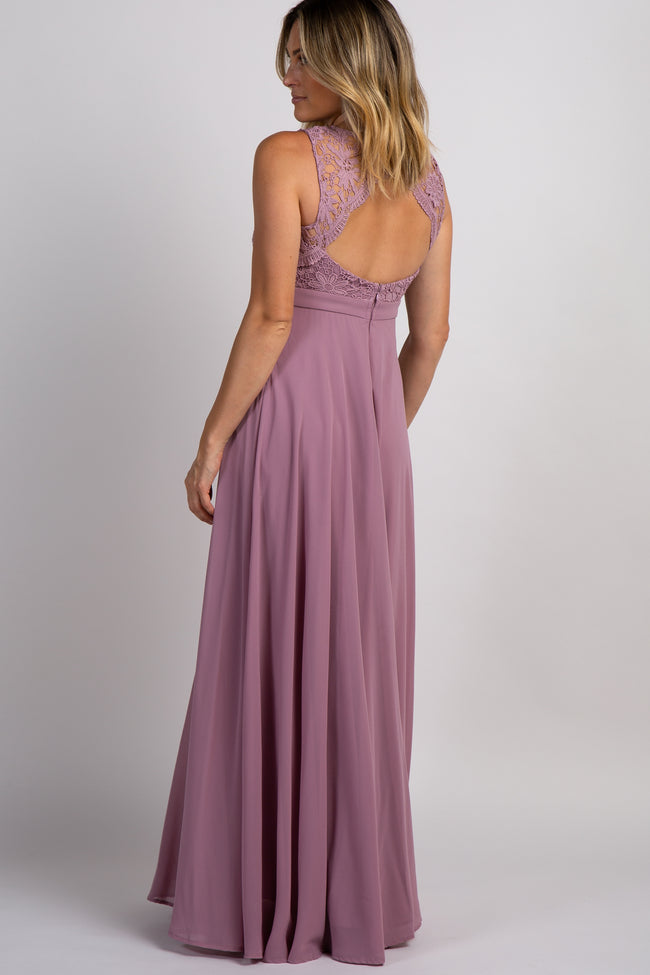 Mauve Crochet Sweetheart Evening Gown