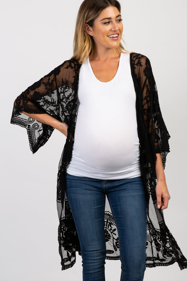 Black Lace Mesh 3/4 Sleeve Maternity Cover Up