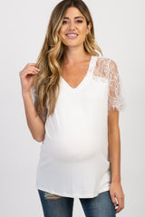 White Short Sleeve Lace Accent Maternity Top