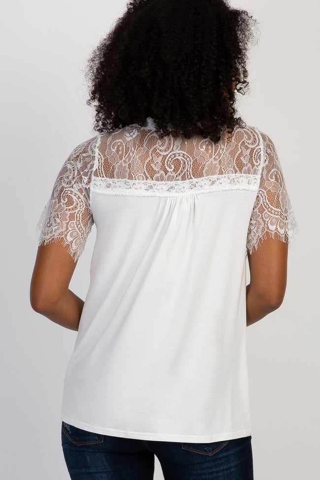 White Short Sleeve Lace Accent Top