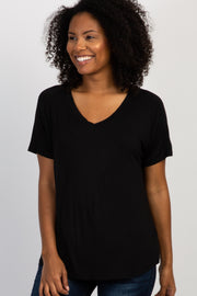 Black Short Sleeve V-Neck Basic Top
