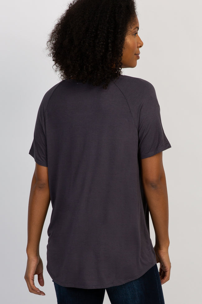 Charcoal Short Sleeve V-Neck Basic Top