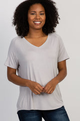Grey Short Sleeve V-Neck Basic Top