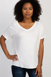 Ivory Short Sleeve V-Neck Basic Top