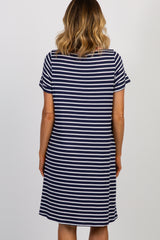 Navy Striped Colorblock Contrast Ribbed T-Shirt Dress
