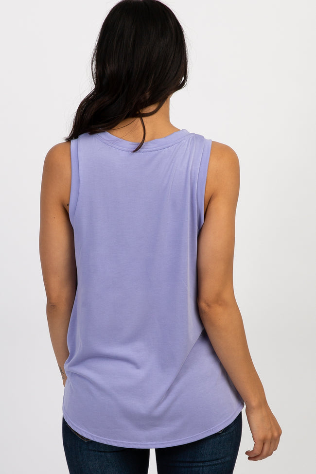 Lavender Knotted Front Sleeveless Top