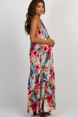 Ivory Floral Halter Neck Maternity Maxi Dress