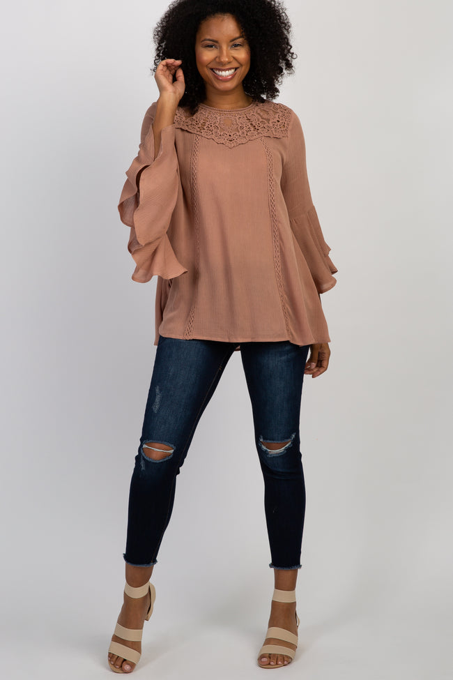Mauve Lace Crochet Accent Bell Sleeve Top