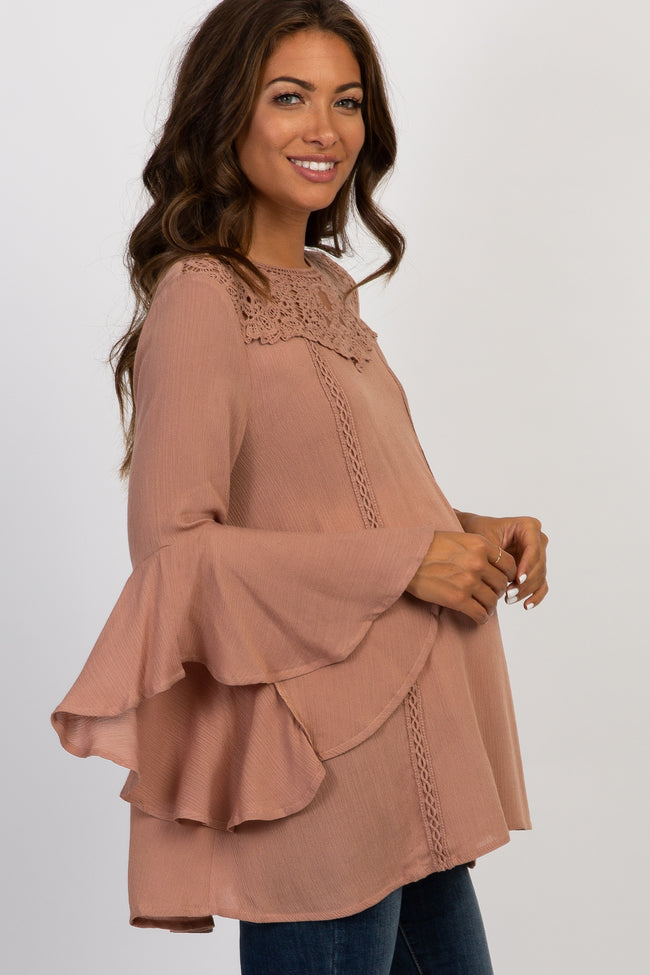 Mauve Lace Crochet Accent Bell Sleeve Maternity Top