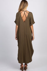 Olive Caged Back Side Slit Maternity Maxi Dress