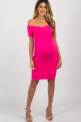 PinkBlush Fuchsia Solid Off Shoulder Fitted Dress