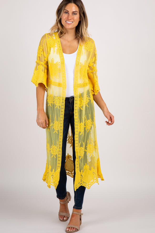 Yellow Lace 3/4 Sleeve Crochet Trim Maternity Kimono