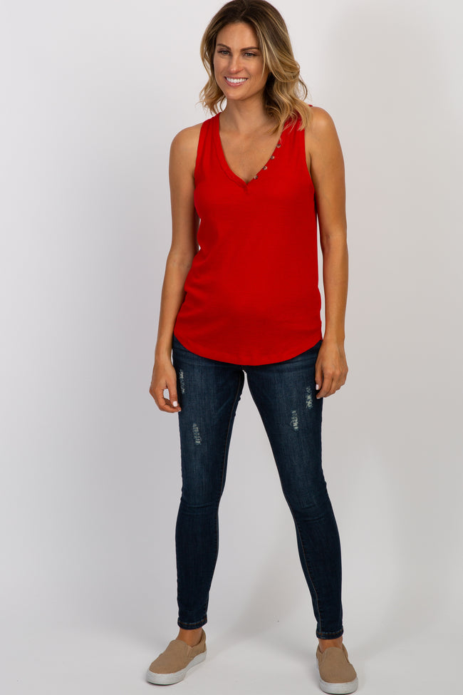 Red Button Ribbed Tank Top