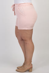 Light Pink Front Tie Maternity Plus Shorts