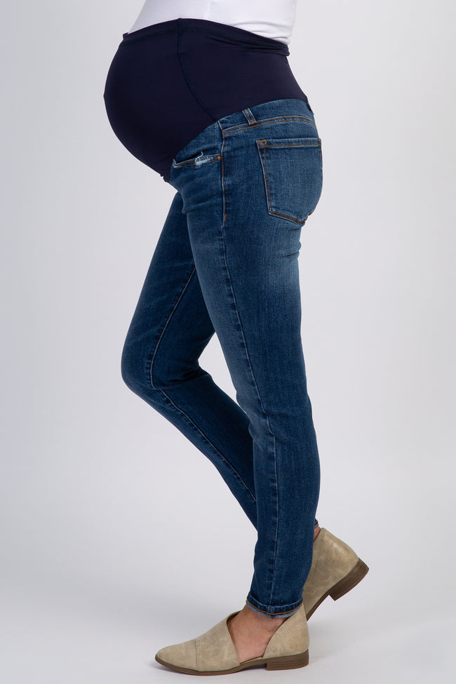 Blue Lightly Distressed Maternity Skinny Jeans
