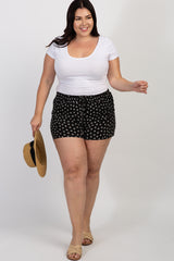 Black Polka Dot Drawstring Maternity Plus Shorts