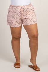 Light Pink Polka Dot Drawstring Plus Shorts