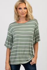 Light Olive Striped Ruffle Sleeve Top