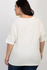 Ivory Solid Ribbed Short Sleeve Plus Top