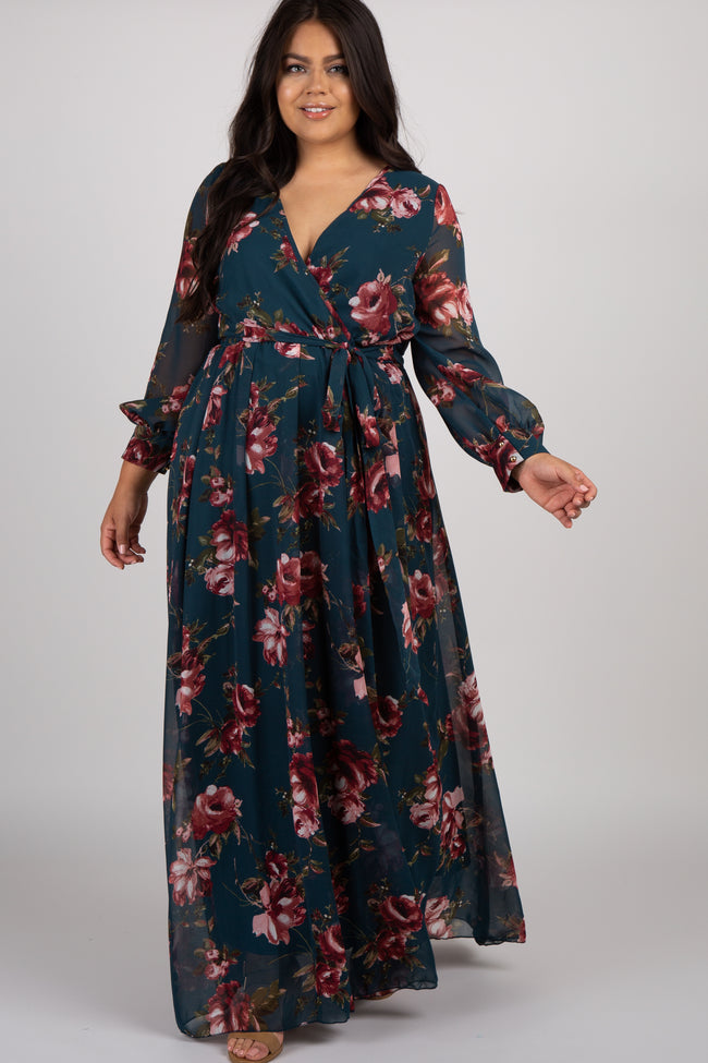 Forest Green Floral Chiffon Pleated Plus Maxi Dress