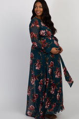 Forest Green Floral Chiffon Pleated Plus Maternity Maxi Dress