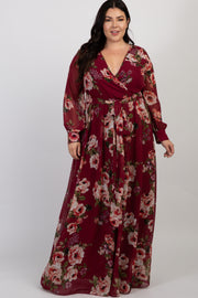 Burgundy Floral Chiffon Pleated Plus Maxi Dress