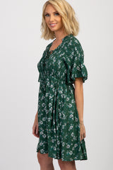 Green Floral Lace Up Ruffle Short Sleeve Dress