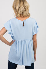 Light Blue Solid Ruffle Sleeve Peplum Top