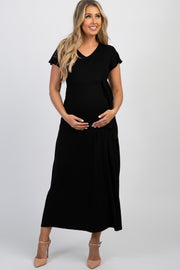Black Solid Tie Short Sleeve Maternity Maxi Dress