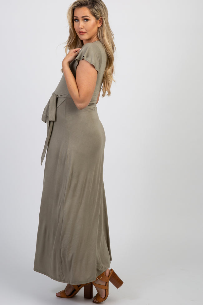 Olive Solid Tie Short Sleeve Maternity Maxi Dress