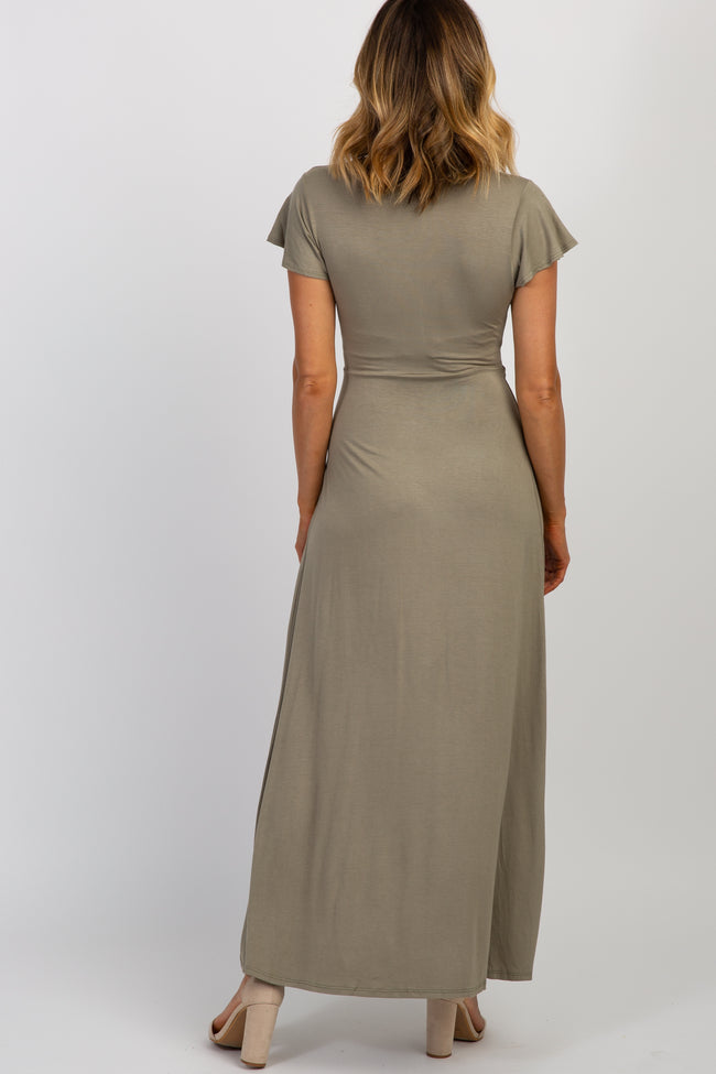 Olive Solid Tie Short Sleeve Maxi Dress