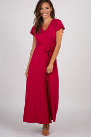 Red Solid Tie Short Sleeve Maxi Dress