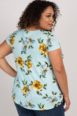 Light Blue Floral Crisscross Short Sleeve Plus Maternity Top