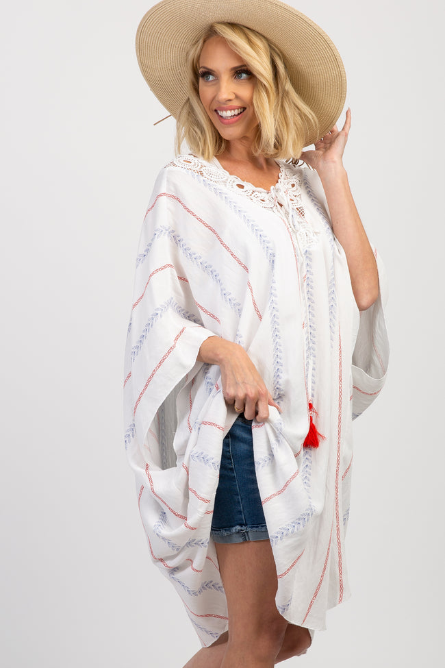 White Striped Lace Up Crochet Maternity Swim Coverup Top