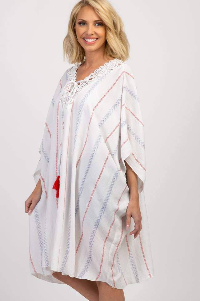 White Striped Lace Up Crochet Swim Coverup Top