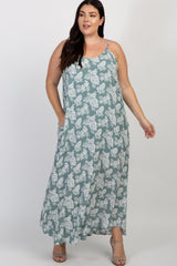 Mint Green Tropical Sleeveless Plus Maternity Maxi Dress