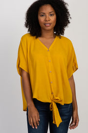 Yellow Crepe Tie Button Front Top