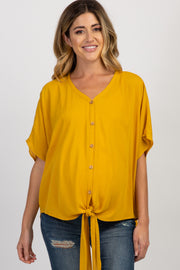 Yellow Crepe Tie Button Front Maternity Top