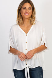 White Crepe Tie Button Front Top