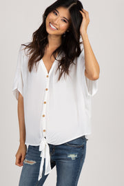 White Crepe Tie Button Front Maternity Top